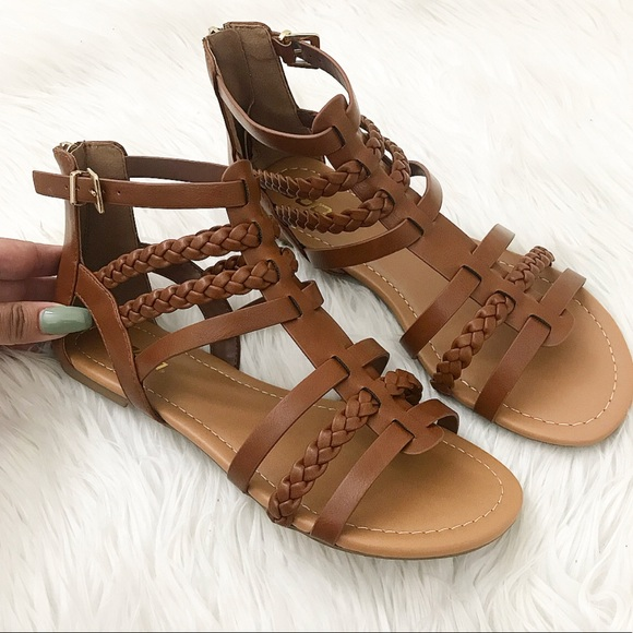 Shoes - Camel Braided Gladiator Sandals